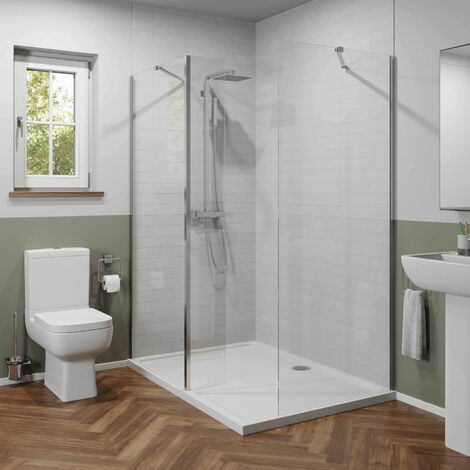 Modern 1400mm x 900mm LH or RH Walk In Shower Enclosure Only 6mm Safety Glass