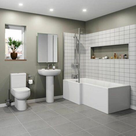 Modern 1500 L Shaped Bathroom Suite LH Showerbath Screen Toilet Basin Pedestal