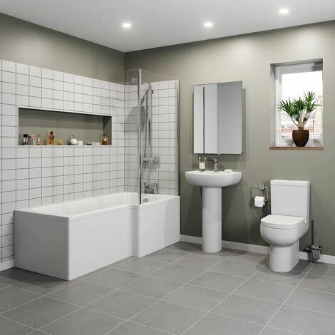 Modern 1500 L Shaped Bathroom Suite RH Showerbath Screen Toilet Basin Pedestal