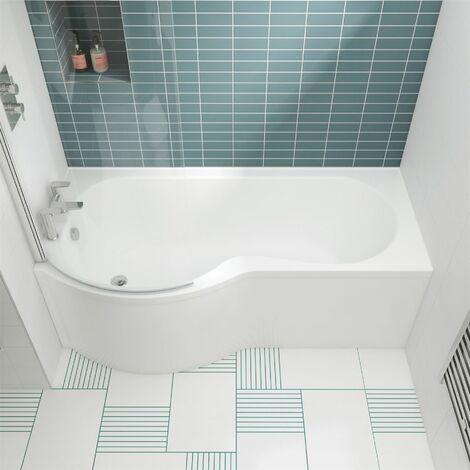 Modern 1500mm P Shaped Shower Bath Left Hand Front & End Panel Screen Bathtub