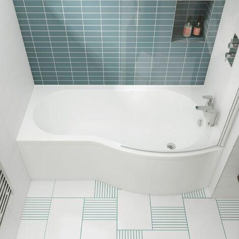 Modern 1500mm P Shaped Shower Bath Right Hand Front & End Panel Screen Bathtub
