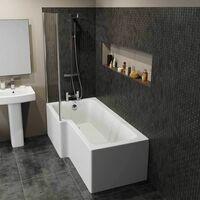 Modern 1600mm Left Hand L Shaped Shower Bath Only Bathtub Acrylic Bathroom Tub