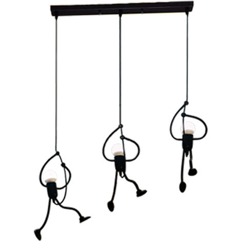 Modern 3 Heads Pendant Light Elegant Art Human Shape Ceiling Light LED Height Adjustable Hanging Light for Restaurant Bedroom Cafe Bar Office Black E27