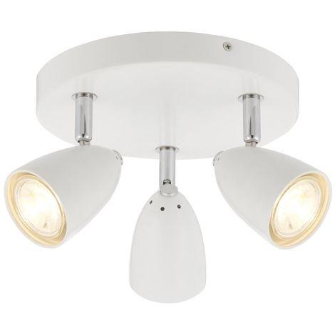 Modern 3 Light LED Round Ceiling Spotlight Fitting in White