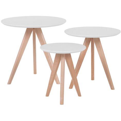 Modern 3 Piece Set Coffee Table White Tabletop Beech Wood Legs Vegas