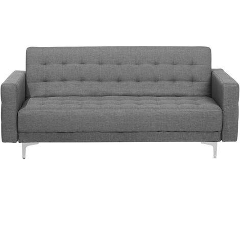 Modern 3 Seater Sofa Bed Grey Fabric Reclining Tufted Aberdeen