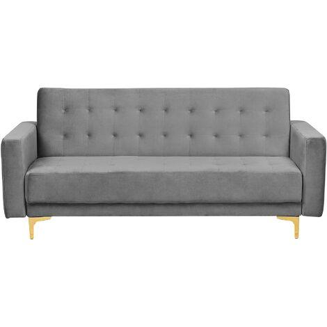 Modern 3 Seater Sofa Bed Grey Velvet Reclining Tufted Aberdeen