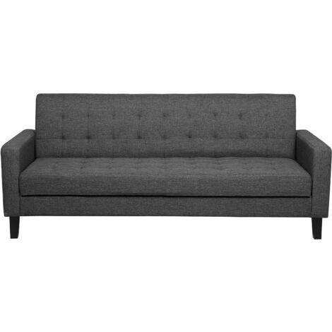 Modern 3 Seater Sofa Bed Tufted Fabric Upholstery Track Arms Dark Grey Vehkoo