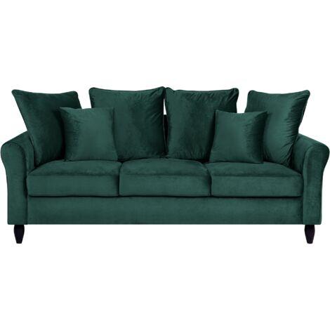 Modern 3 Seater Velvet Sofa Emerald Green Loose Back Solid Wood Legs Bornholm