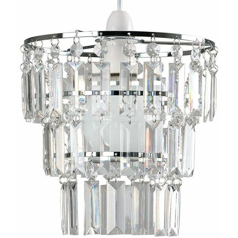 Modern 3 Tier Ceiling Pendant Light Shade With Acrylic Jewel Droplets