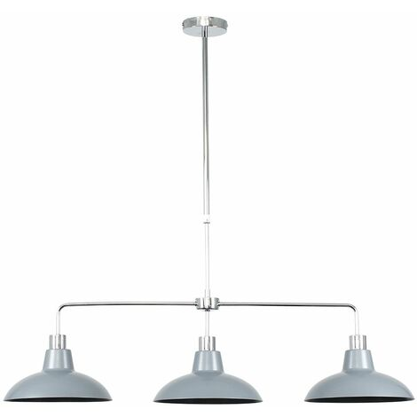 Modern 3 Way Rise & Fall Suspended Over Table Ceiling Light Fitting with Metal Curved Shades