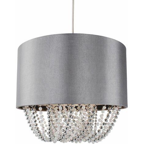 Modern 30cm Grey Faux Silk Easy Fit Jewel Ceiling Light Shade Chandelier
