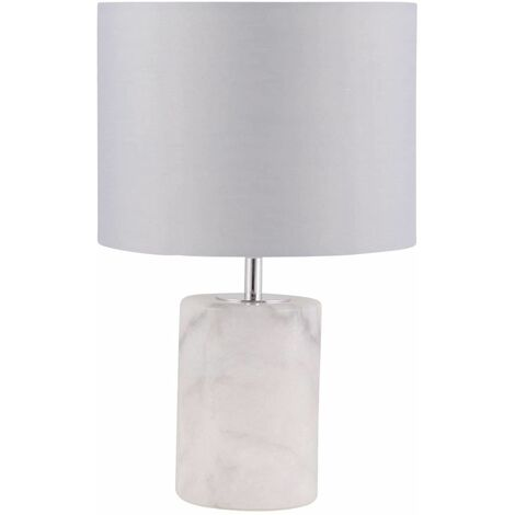 Modern 32cm Marble Bedside Light Table Lamp with Grey Fabric Shade
