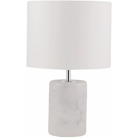 Modern 32cm Marble Bedside Light Table Lamp with White or Grey Fabric Shade