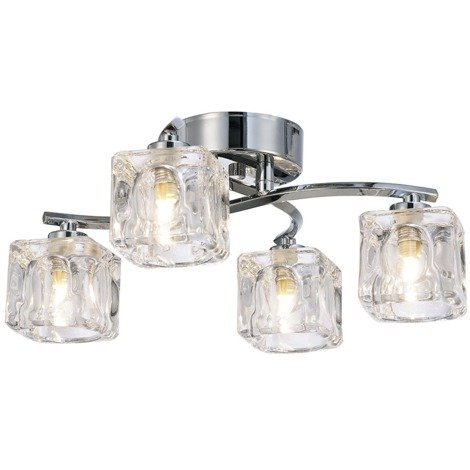 Modern 4-Bulb Ceiling Light with Clear Ice Cube Shades by Happy Homewares