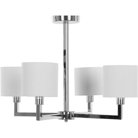 Modern 4-Light Ceiling Lamp Chandelier Glam Silver White Shapkina