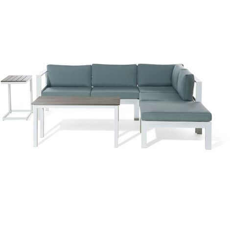 """main image of """"Modern 4 Piece Outdoor Corner Sofa with Table and Ottoman Green Cushions Messina"""""""