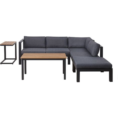 """main image of """"Modern 4 Piece Outdoor Corner Sofa with Table and Ottoman Grey Cushions Messina"""""""