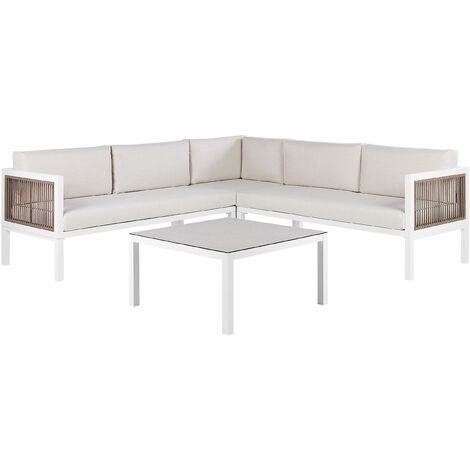 Modern 4-Seater Lounge Set with Coffee Table White and Brown Aluminum Borello