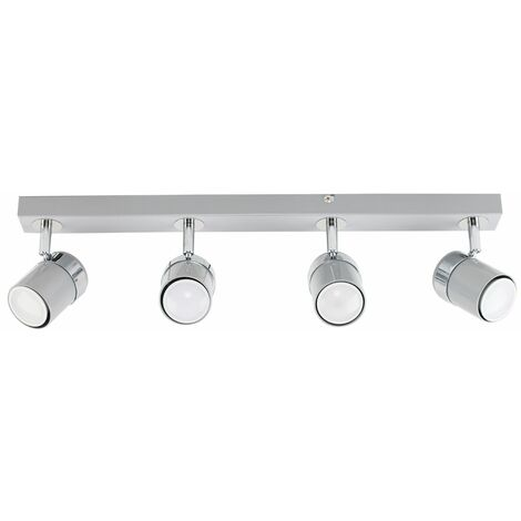 4 Way Straight Bar Ceiling Spotlight - Grey & Silver