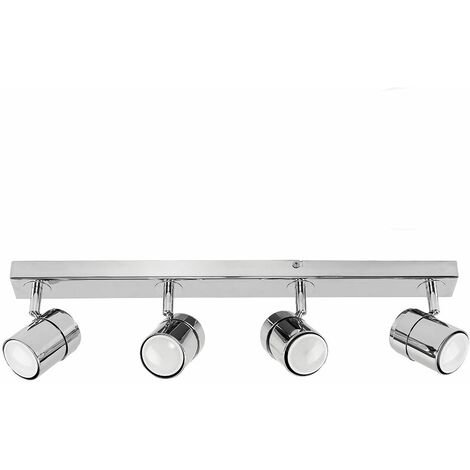 Modern 4 Way Straight Bar Ceiling Spotlight Fitting + GU10 LED Bulbs