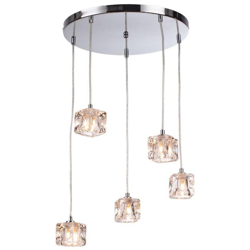 Image of 76-035 Modern 5 Light Ice Cube Spiral Cluster Ceiling Pendant Light