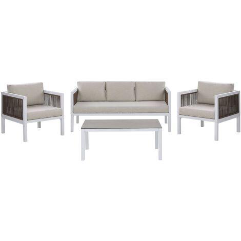 Modern 5-Seater Garden Sofa Set 2 Armchairs White and Brown Aluminum Borello