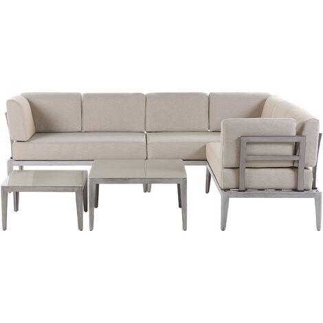Modern 6 Seater Garden Sofa Set Beige L-Shaped Sofa 2 Coffee Tables Rima II