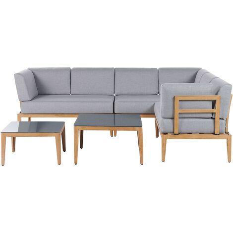 Modern 6 Seater Garden Sofa Set Grey L-Shaped Sofa 2 Coffee Tables Rima
