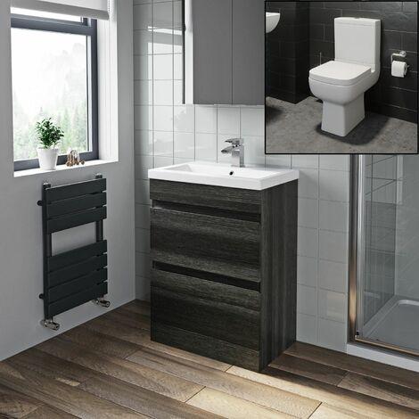 600mm Bathroom Drawer Vanity Unit Basin Modern Soft Close Toilet Charcoal Grey