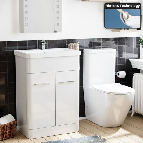 Modern 610 mm White Basin Vanity Cabinet And Rimless WC Toilet Suite
