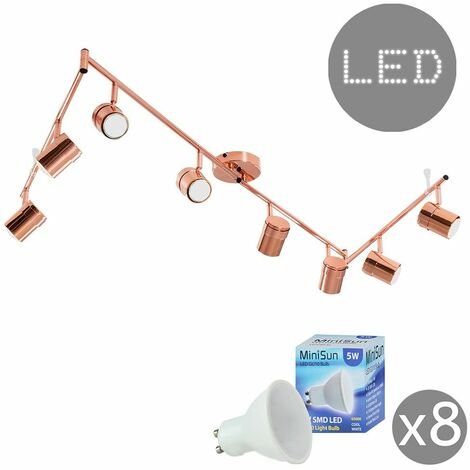 Modern 8 Way Adjustable Flexi Z Ceiling Spotlight + Gu10 LED Bulbs