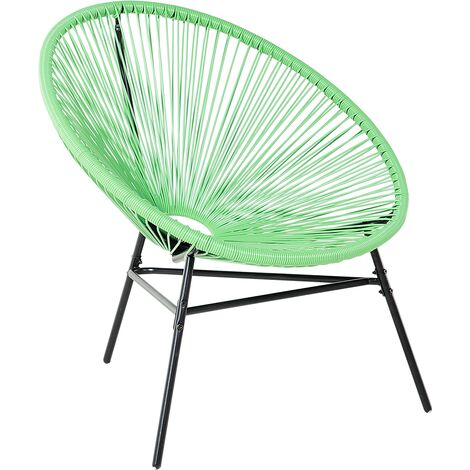 Modern Accent Chair Round Light Green Rattan Steel Living Room Acapulco