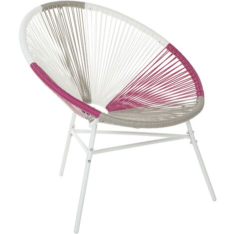 Modern Accent Chair Round Multicolour Pink Rattan Steel Living Room Acapulco