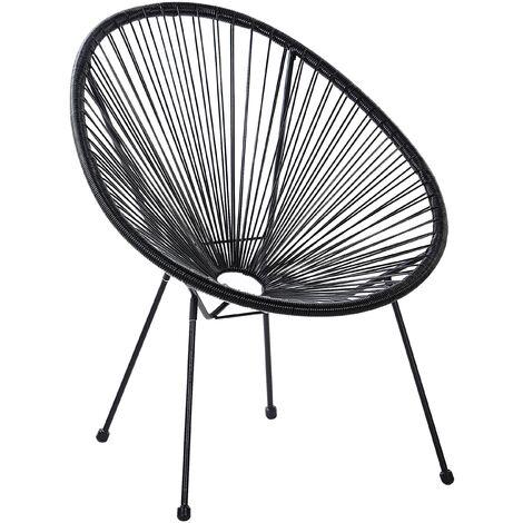 Modern Accent Chair Round PE Rattan Steel Living Room Black Acapulco II
