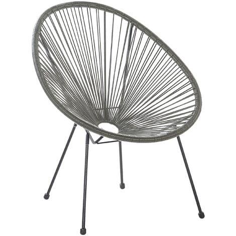 Modern Accent Chair Round PE Rattan Steel Living Room Dark Grey Acapulco II