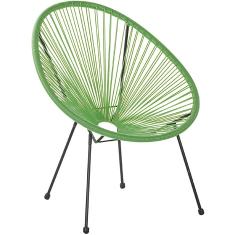 Modern Accent Chair Round PE Rattan Steel Living Room Green Acapulco II