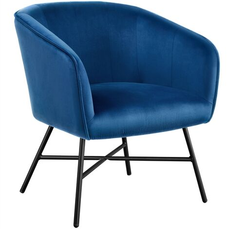 Modern Accent Chair Soft Velvet Tub Chair Side Armchair Sofa Lounge Upholstered Back Sturdy Metal Legs for Living Room Cafe Home