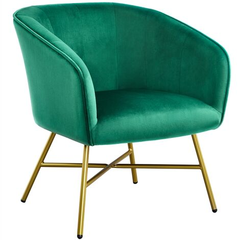 Modern Accent Chair Soft Velvet Tub Chair Side Armchair Sofa Lounge Upholstered Back Sturdy Metal Legs for Living Room Cafe Home Green