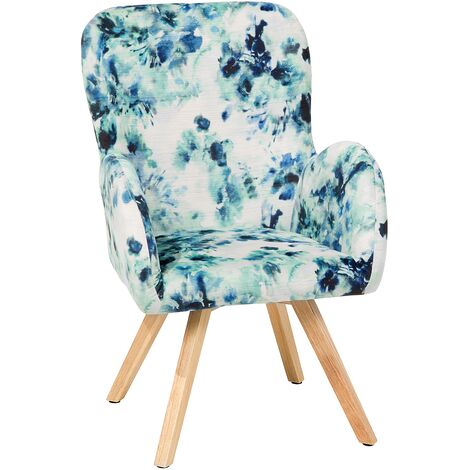 Modern Accent Chair Wooden Legs Multicolour Upholstery Floral Pattern Bjarn