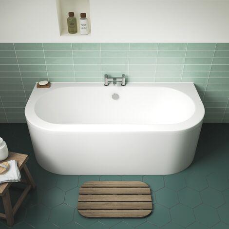Modern Acrylic Bath Back To Wall Bathtub 1700 x 750mm Curved Side Front Panel