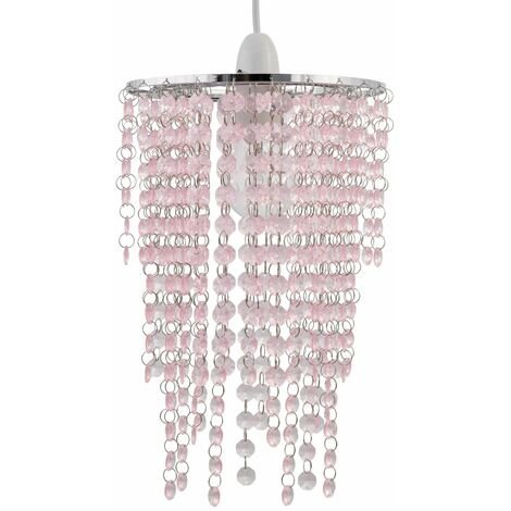 Modern Acrylic Crystal Waterfall Ceiling Light Shade, Jewelled Ceiling Lampshade, Easy Fit - No Wiring Required, Chrome with Pink Jewelled Droplets