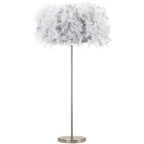 Modern and Chic Real Grey Feather Floor Lamp with Satin Nickel Base and Switch by Happy Homewares