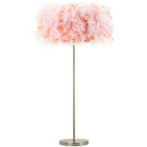 Modern and Chic Real Pink Feather Floor Lamp with Satin Nickel Base and Switch by Happy Homewares