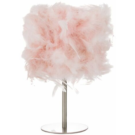 Modern and Chic Real Pink Feather Table Lamp with Satin Nickel Base and Switch by Happy Homewares