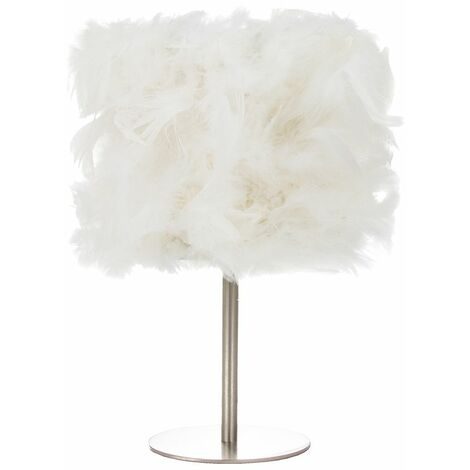 Modern and Chic Real White Feather Table Lamp with Satin Nickel Base and Switch by Happy Homewares