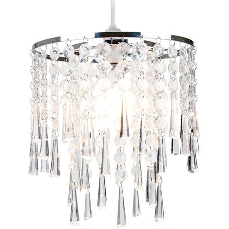 Modern and Contemporary Transparent Acrylic Waterfall Pendant Lighting Shade by Happy Homewares
