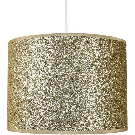 Modern and Designer Bright Gold Glitter Fabric Pendant/Lamp Shade 25cm Wide by Happy Homewares