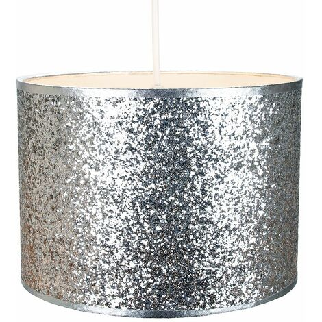 Modern and Designer Bright Silver Glitter Fabric Pendant/Lamp Shade 25cm Wide by Happy Homewares
