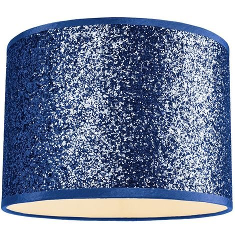 Modern and Designer Midnight Blue Glitter Fabric Pendant/Lamp Shade 25cm Wide by Happy Homewares